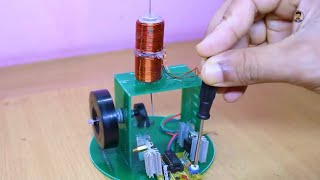 how to make single piston engine using magnet at home