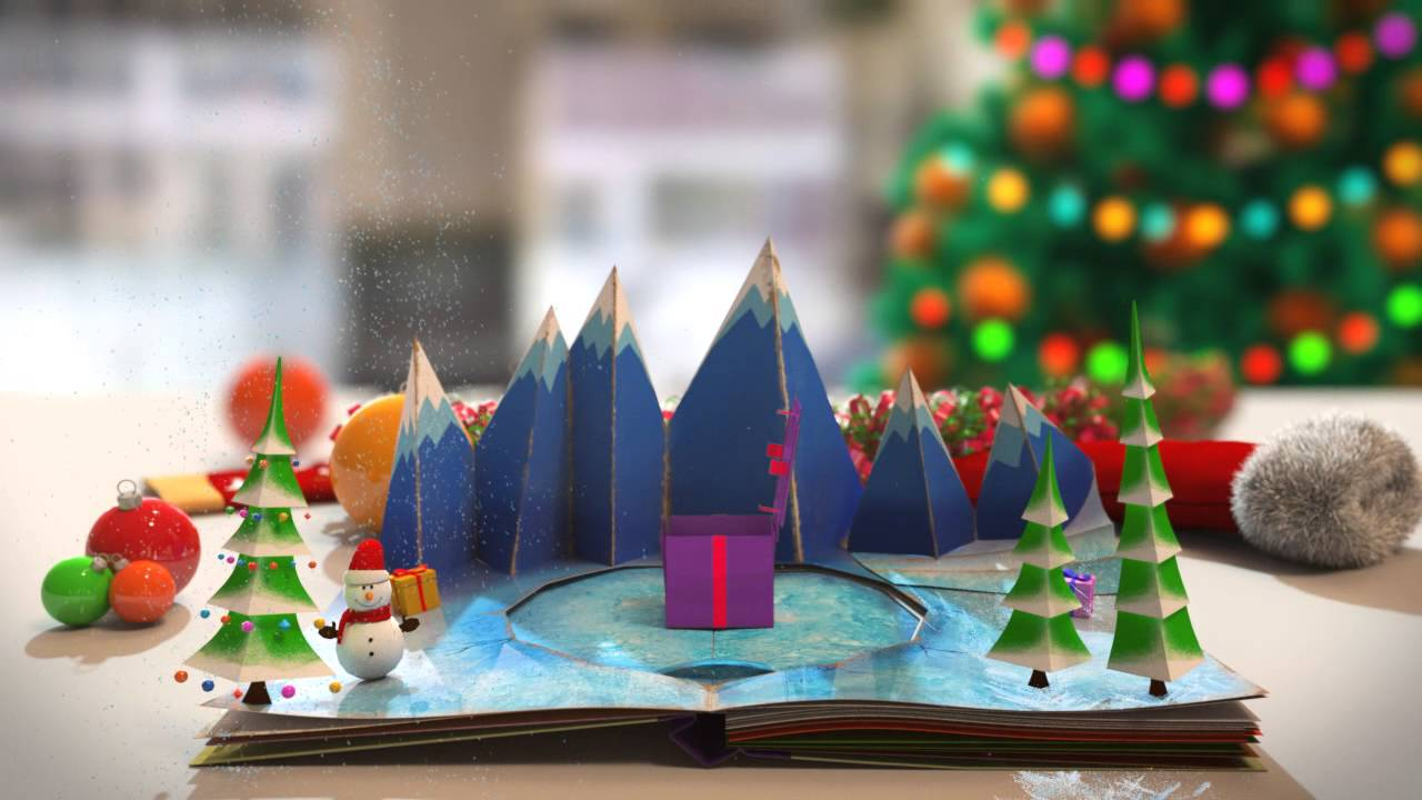 Pop Up Book - Christmas Card Animation Business Message Video ...