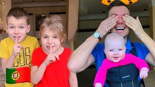 Cinco Crianças e papai brincam de esconde esconde