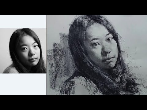 Charcoal pencil + charcoal drawing Tutorial - Girl Portrait