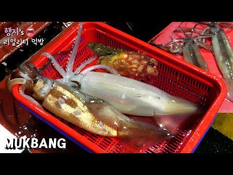 리얼먹방:) 아...소주땡겨...오징어회 & 오징어통찜 ★ fr.해삼,멍게ㅣRaw Squid & Steamed SquidㅣREAL SOUNDㅣASMR MUKBANGㅣ