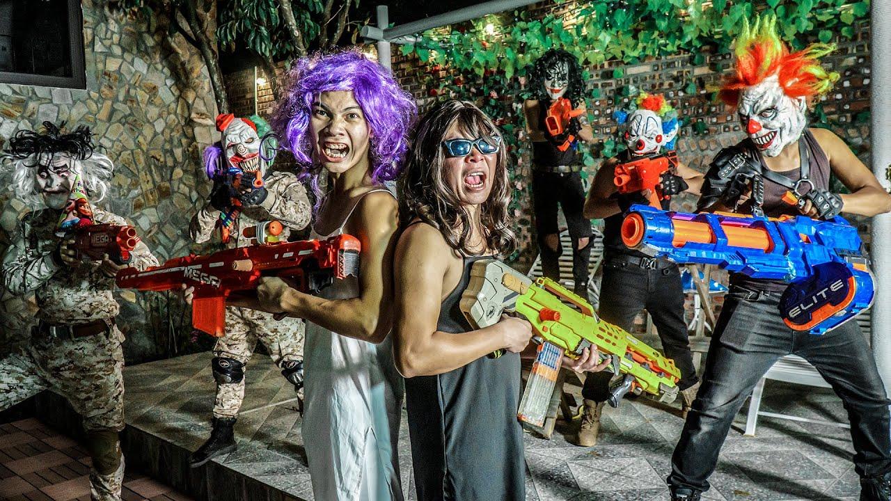 MASK Nerf War : Warriors Alpha Nerf Guns Fight CRIME CITY Underworld Boss Joker