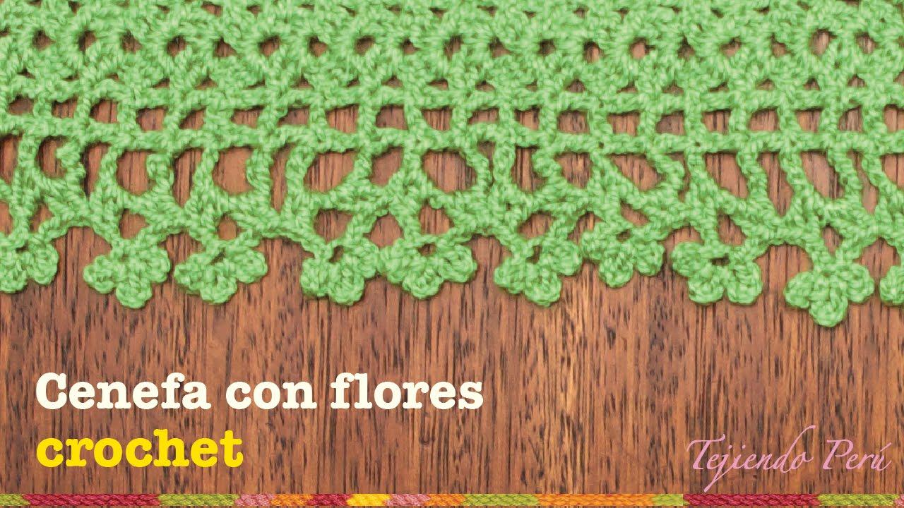 Cenefa o borde para aplicar con flores en el borde tejida