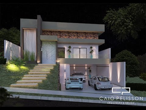 projeto casa terrea moderna 130 metros terreno 12x25