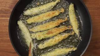 材料: 多春魚10條雞蛋1隻麵粉3湯匙麵包糠適量紫菜碎...