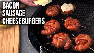 Bacon Sausage Cheeseburgers by the BBQ Pit Boys