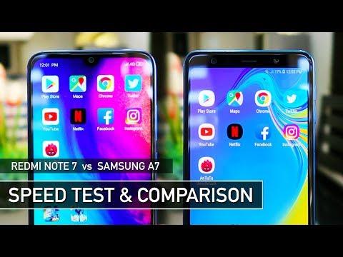 Redmi Note 7 vs Samsung A7 2018 Speed Test PUBG Comparison | Zeibiz