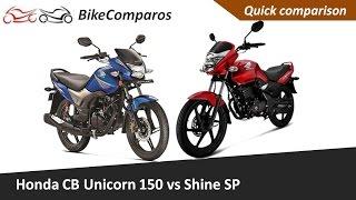 Honda CB Unicorn 150 vs Shine SP-Vergleich Abgeben