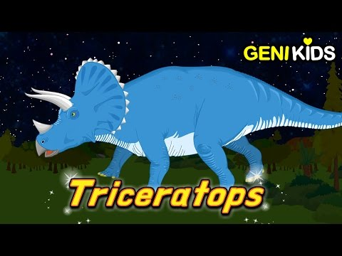 Three-horned Dinosaur TRICERATOPS and the Carnivores Saga | Dinosaur World ★Genikids