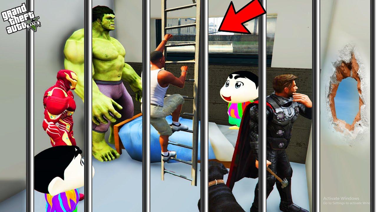GTA 5 : Shinchan , Pinchan And Franklin Planning To Escape Prison in GTA 5 ! (GTA 5 mods)