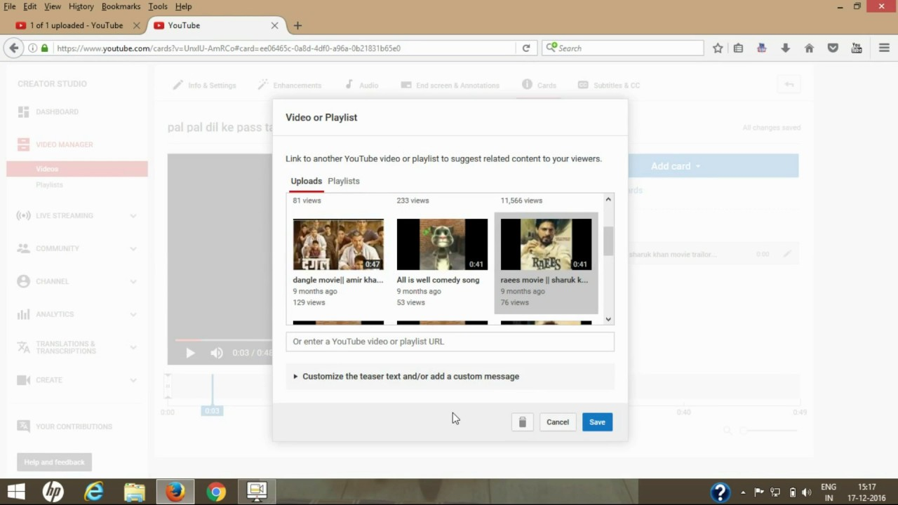How To Add Cards To Youtube Videos Hindi  Adding Cards To Youtube Videos