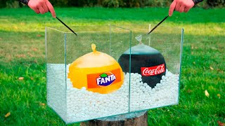 Experiment: Giant Balloons of Coca Cola & Fanta VS Mentos