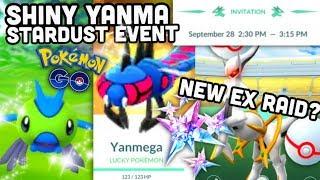 SHINY YANMA & STARDUST EVENT IN POKEMON GO   NEW EX RAID BOSS?
