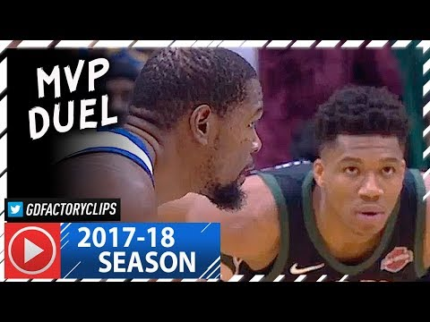 Kevin Durant vs Giannis Antetokounmpo MVP Duel Highlights (2018.01.12) Warriors vs Bucks - SICK!