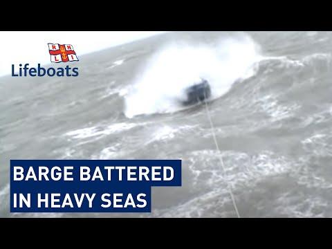 Dover RNLI volunteers rescue 65ft barge in heavy seas