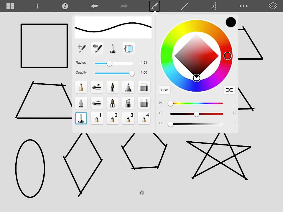Drawing 2D Shapes on the SketchBook Express app for iPad