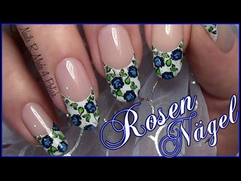 rosen french stamping nageldesign einfach selber machen blumen n gel flower nail art youtube. Black Bedroom Furniture Sets. Home Design Ideas
