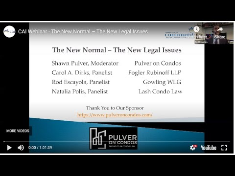 CAI Webinar - The New Normal – The New Legal Issues