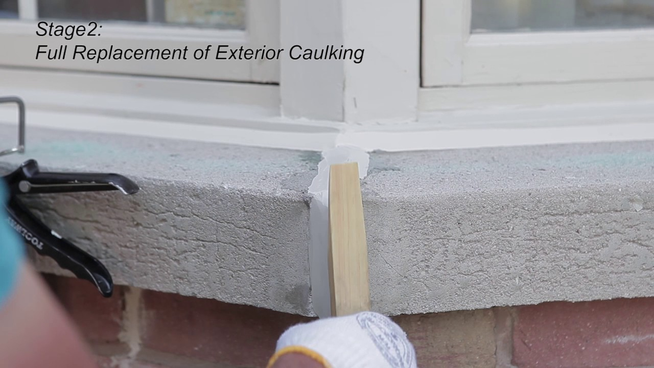 Exterior window caulking and wood refurbishing with home - Wood filler or caulk for exterior trim ...