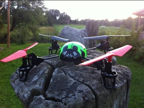 v929 WLtoys RC outdoor flying mini beetle ladybird quad doing flips and flying thru obstacles.