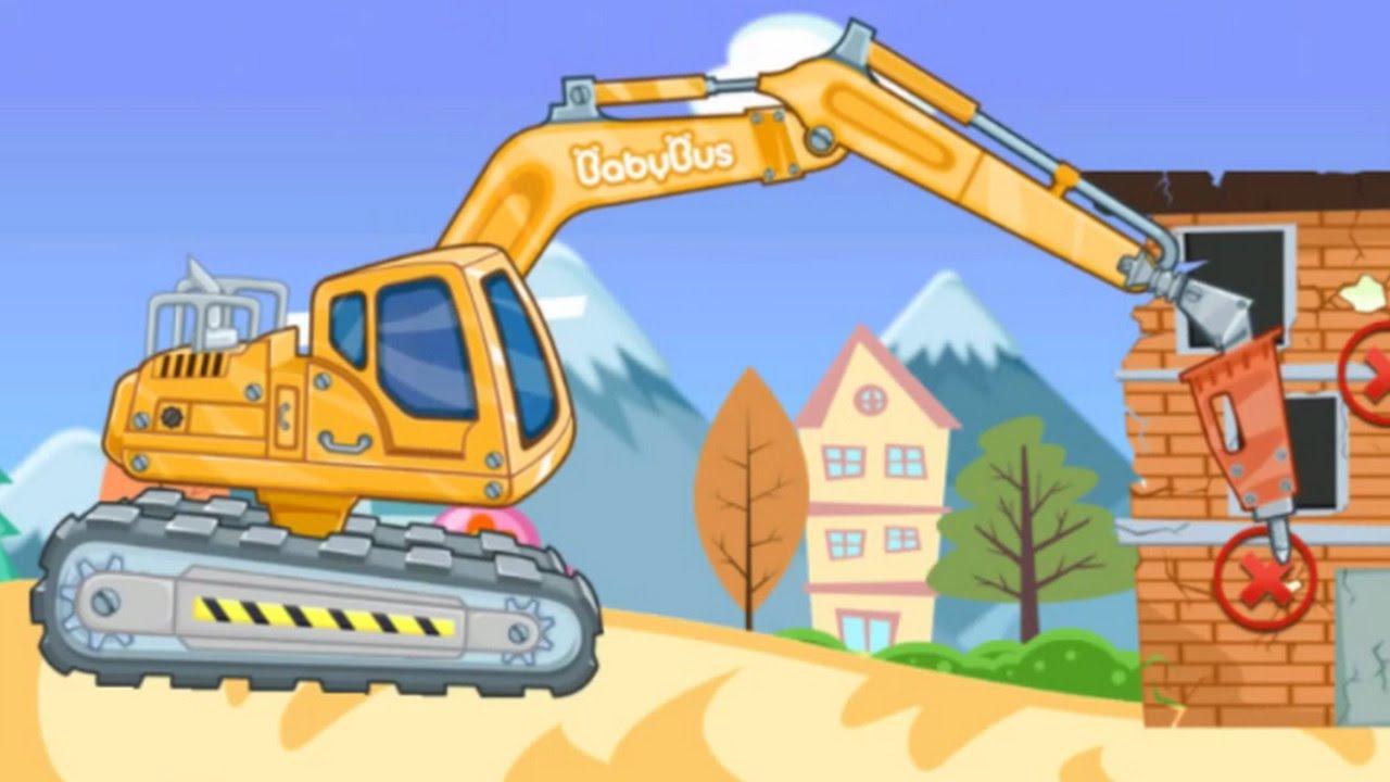 Trò chơi cho trẻ em – Máy xúc, máy ủi, xe cẩu, xe tải – Game 3D for Kid