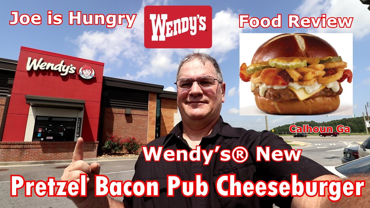 Wendy S New Pretzel Bacon Pub Cheeseburger Review Wendy S Pub Burger Joe Is Hungry Youtube