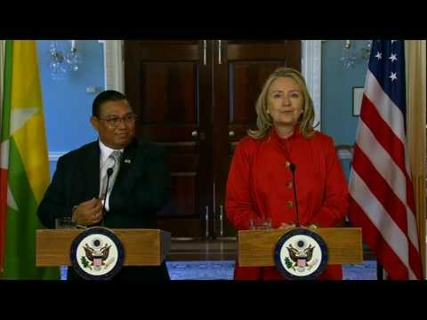 Secretary Clinton Delivers Remarks With Foreign Minister of Burma Wunna Maung Lwin