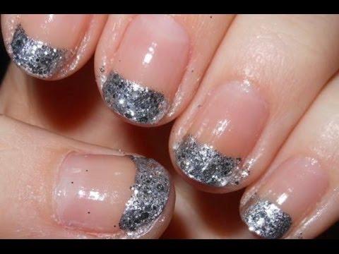 Glitter French Tips Short Nails