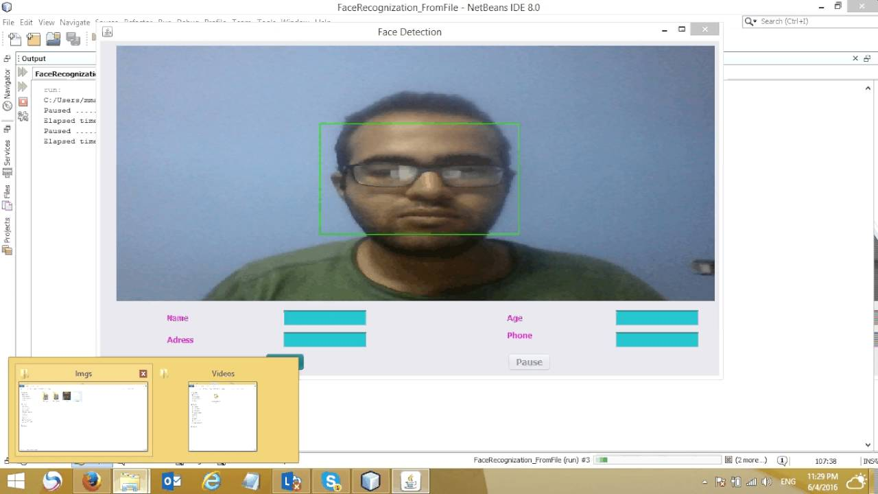 Real Time Face Detection & Recognition (Java Appliaction)