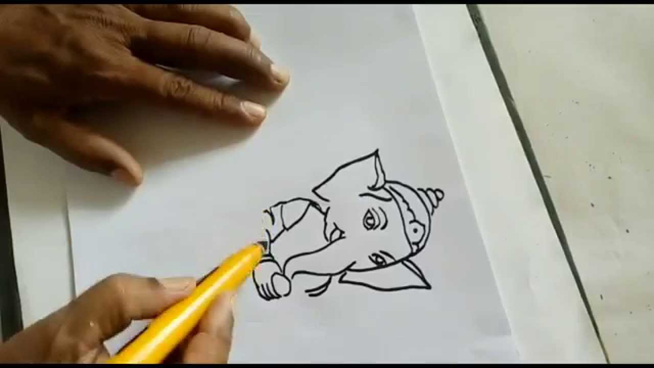 how to do ganesha painting for kids step by step - Drawing And Painting For Kids