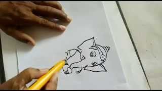 how to do ganesha painting for kids step by step