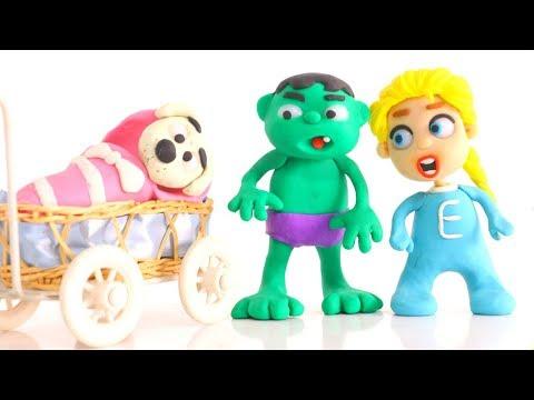 SUPERHERO BABIES TAKE CARE OF THE BABY DOG ❤ Spiderman, Hulk & Frozen Play Doh Cartoons For Kids