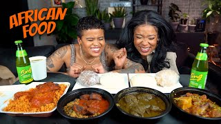FUFU, EGUSI STEW, CASSAVA LEAVES AND GOAT PEPPER SOUP MUKBANG | AFRICAN FOOD MUKBANG