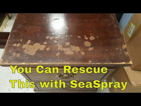 Sea Spray can Rescue Water Damaged Particle Board Furniture - #paintedfurniture  #diy
