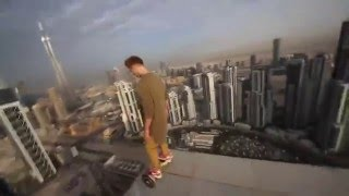 Watch this guy hoverboard on the edge of a skyscraper in Dubai