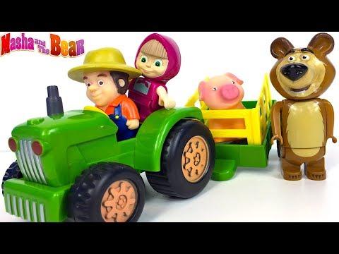 masha-y-el-oso-pasando-un-dia-en-la-granja-masha-and-the-bear-con-cerdito-y-senor-granjero