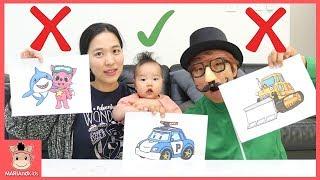 3마커 챌리지 놀이! 국민 마술사 모자 안에서 장난감? ♡ 상어가족 타요 폴리 3가지 색 색깔놀이 색칠놀이 3 MARKER CHALLENGE | 말이야와아이들 MariAndKids
