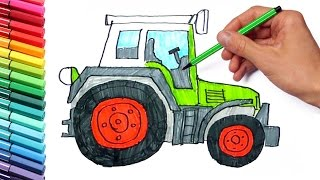 How to Draw and Color a Tractor Farm Vehicles - Teaching How to Paint with Colored Markers for Kids