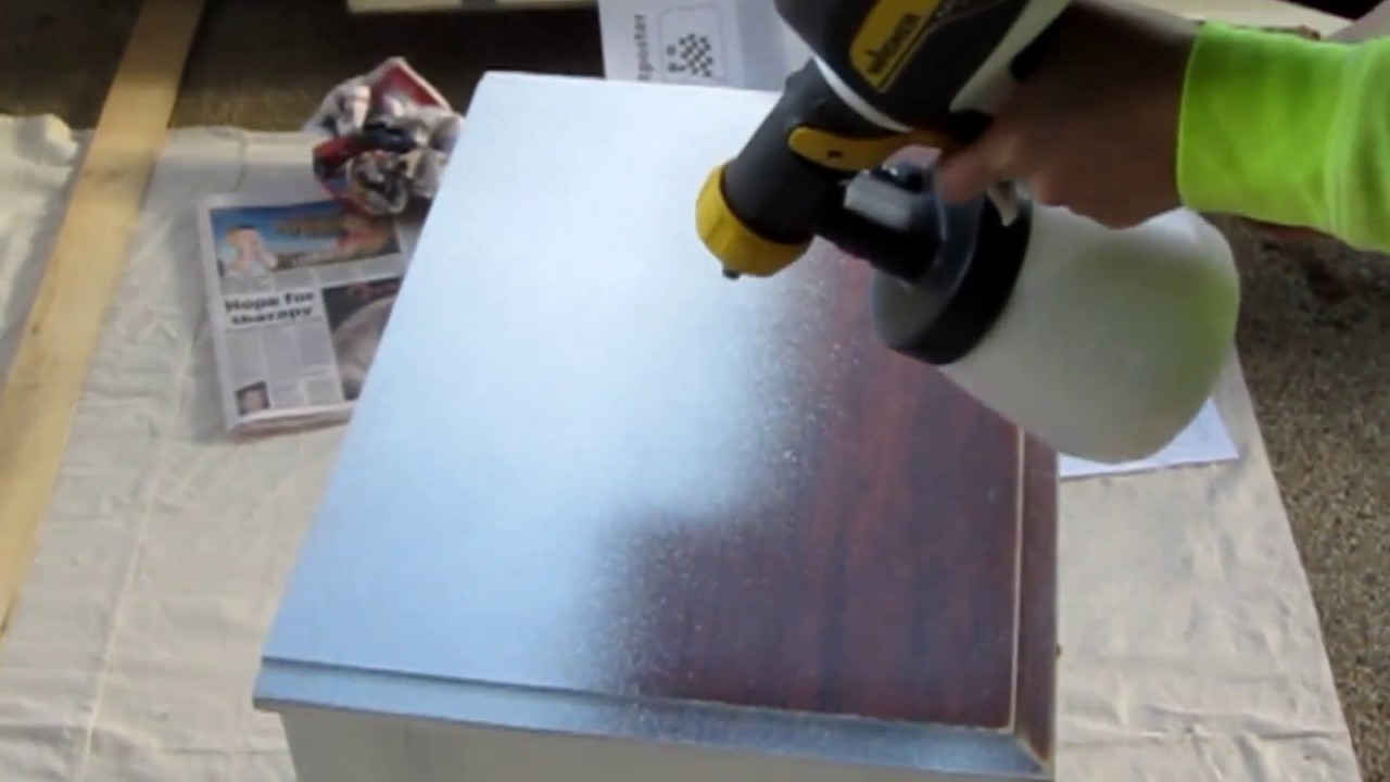 Wagner Paint Spray Gun Part - 42: Wagner Paint Sprayer- How To Spray Paint A Bedside Table