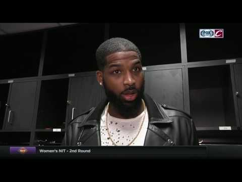 Tristan Thompson is thankful for his mouth guard after receiving an elbow to his pearly whites