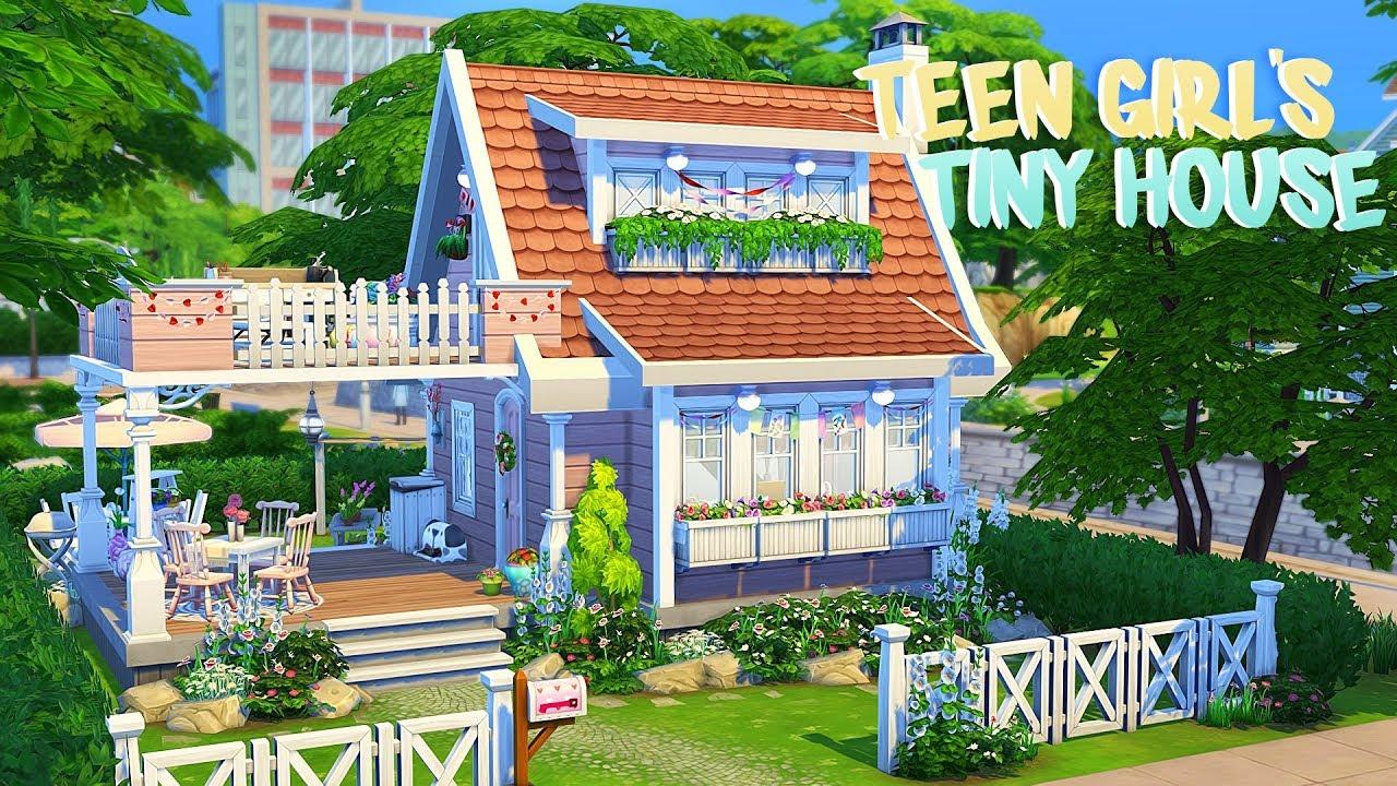 Teen Girl S Tiny House The Sims 4 Speed Build Youtube