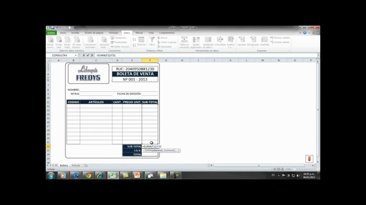 Boleta de venta en Excel2010 - YouTube