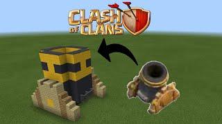 Cách xây khẩu đại bác lv 4 Clash of clans trong Minecraft PE - make a Clash of clans mortar lv 4
