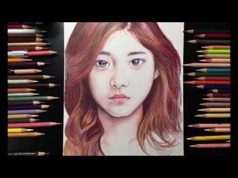 쯔위 TWICE : Tzuyu - Colored pencil drawing   Dino Q