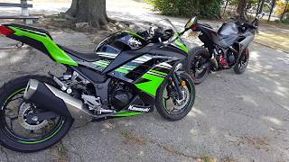 best beginner bikes 2016 yamaha R3 and kawasaki ninja 300 quick review/walkaround