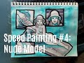 Nude Model Comic Style Blue Shading with Peerless Watercolors//Speed Painting #4