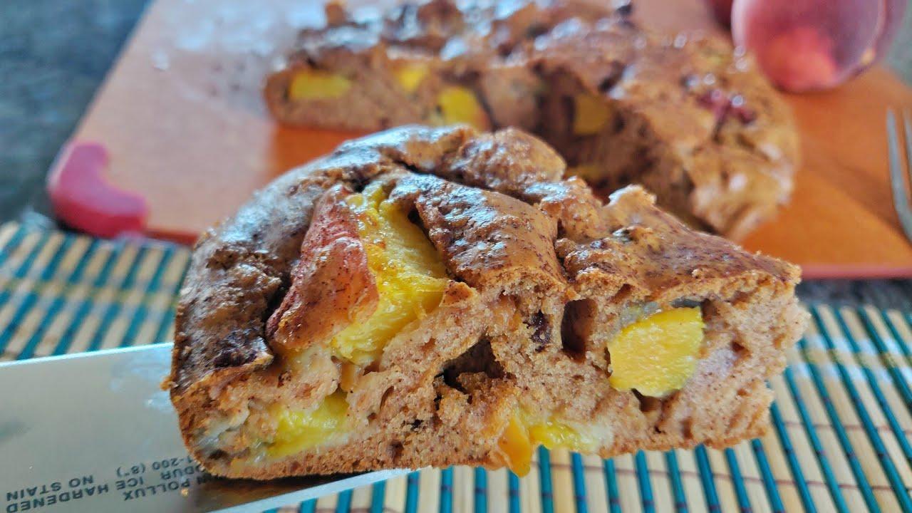 8月桃子🍑季 一定要试试最简单好吃的桃子蛋糕 Must try the simple Peach cake during the August peach season.