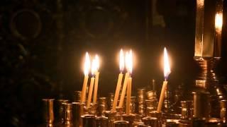 Фоновое видео: храм, алтарные свечи, пламя, семисвечник 1080 - Background video