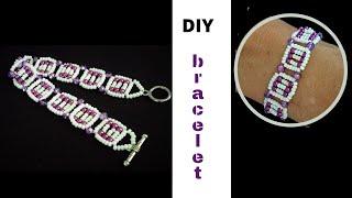 beading tutorial for beginners. beaded bracelet pattern. Purple bracelet tutorial