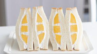 手捏ね食パンでマンゴーサンドイッチの作り方 Soft & Fluffy Milk Bread Mango Sandwich*No egg HidaMari Cooking